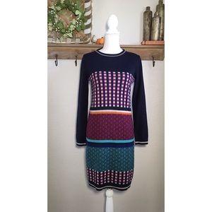 Weekend By Max Mara Wool Sweater Dress Plaid Navy